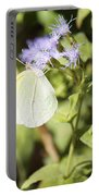 Yellow Butterfly Feeding On Violet Flower Portable Battery Charger