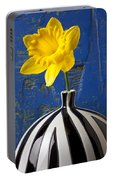 Yellow Daffodil In Striped Vase Portable Battery Charger