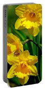 Yellow Daffodils And Honeybee Portable Battery Charger