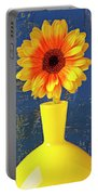 Yellow Mum In Yellow Vase Portable Battery Charger