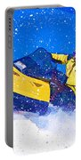 Yellow Snowmobile In Blizzard Portable Battery Charger