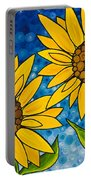 Yellow Sunflowers Portable Battery Charger by Sharon Cummings
