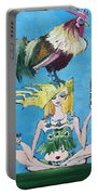 Yoga Girl With Cock - Bottle Of Wine And Egg Portable Battery Charger