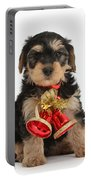Yorkipoo Pup Wearing Christmas Bells Portable Battery Charger