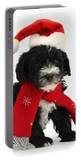 Yorkipoo Pup Wearing Christmas Hat Portable Battery Charger