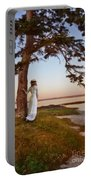 Young Lady In Edwardian Clothing By The Sea Portable Battery Charger
