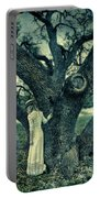 Young Lady In White By Tree Portable Battery Charger