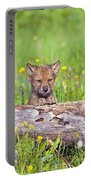 Young Wolf Cub Peering Over Log Portable Battery Charger