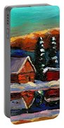 Laurentian Landscape Quebec Winter Scene Portable Battery Charger