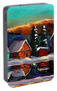 Laurentian Landscape Quebec Winter Scene Portable Battery Charger