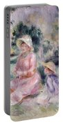 Madame Renoir And Her Son Pierre Portable Battery Charger by Pierre Auguste Renoir