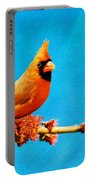 Male Northern Cardinal Perched On Tree Branch Portable Battery Charger