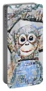 Monkey Rainbow Splattered Fragmented Blue Portable Battery Charger