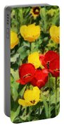 Spring Landscape With Tulips Portable Battery Charger