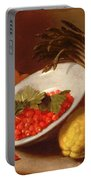 Still Life Of Raspberries Lemons And Asparagus  Portable Battery Charger