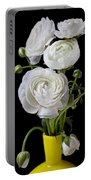 White Ranunculus In Yellow Vase Portable Battery Charger