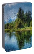 Wyoming Tetons Spruce Mountain Lake. Oil Painting . Portable Battery Charger