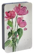 3 Pink Flowers Portable Battery Charger