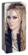 83110 Blonde Jacket Sitting Simple Background Hazel Eyes Hilary Duff Women Portable Battery Charger