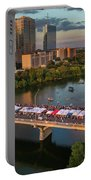 A Beautiful Sunset Falls On The Austin Skyline As Thousands Of Bat Watchers Line The Congress Avenue Bridge During The Annual Bat Fest To Watch The Bats Take Flight Portable Battery Charger