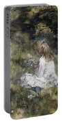 A Girl With Flowers On The Grass Portable Battery Charger