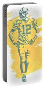 Aaron Rodgers Green Bay Packers Water Color Art 1 Portable Battery Charger