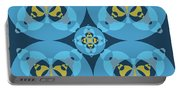 Abstract Mandala Cyan, Dark Blue And Yellow Pattern For Home Decoration Portable Battery Charger