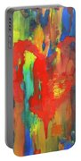 Abstract Red Heart Acrylic Painting Portable Battery Charger