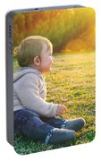 Adorable Baby Playing Outdoors Portable Battery Charger