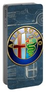 Alfa Romeo 3 D Badge Over 1938 Alfa Romeo 8 C 2900 B Vintage Blueprint Portable Battery Charger