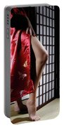 Asian Woman In Red Kimono Portable Battery Charger