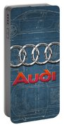 Audi 3 D Badge Over 2016 Audi R 8 Blueprint Portable Battery Charger by Serge Averbukh