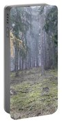 Autumn Coniferous Forest In The Morning Mist Portable Battery Charger
