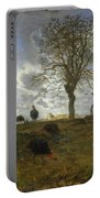 Autumn Landscape With A Flock Of Turkeys Portable Battery Charger