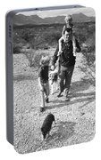 Barry Sadler With Sons Baron And Thor Taking A Stroll 1 Tucson Arizona 1971 Portable Battery Charger