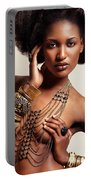Beautiful African American Woman Wearing Jewelry Portable Battery Charger
