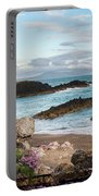 Beautiful Landscape Image Of Rocky Beach With Snowdonia Mountain Portable Battery Charger