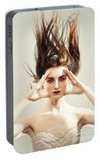 Beautiful Woman With Windswept Hair Portable Battery Charger