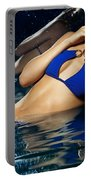 Beautiful Young Woman In Blue Bikini Portable Battery Charger