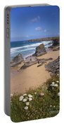 Bedruthan Steps Beach And Atlantic Surf In Summer Sun Cornwall  Portable Battery Charger