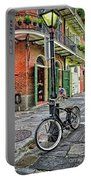 Bike And Lamppost In Pirate's Alley Portable Battery Charger