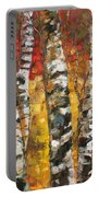 Birch Trees In Golden Fall Portable Battery Charger