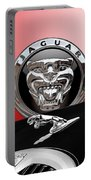Black Jaguar - Hood Ornaments And 3 D Badge On Red Portable Battery Charger by Serge Averbukh