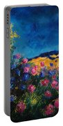 Blue And Pink Flowers Portable Battery Charger
