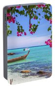 Boats, The Andaman Sea And Hills In Ko Phi Phi Don, Thailand Portable Battery Charger
