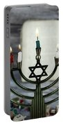 Brightly Glowing Hanukkah Menorah - Shallow Depth Of Field Portable Battery Charger