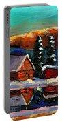 Canadian Art Laurentian Landscape Quebec Winter Scene Portable Battery Charger