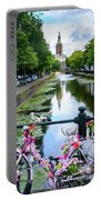Canal And Decorated Bike In The Hague Portable Battery Charger