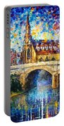 Castle By The River - Palette Knife Oil Painting On Canvas By Leonid Afremov Portable Battery Charger