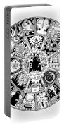 Cat Mandala Black And White Portable Battery Charger